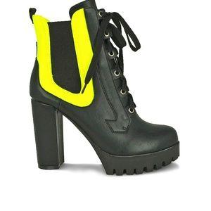 Women's Neon Yellow Chunky Heel Platform  Booties